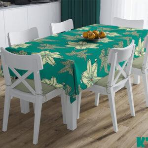 Khăn bàn ăn nền xanh in hình hoa lá
