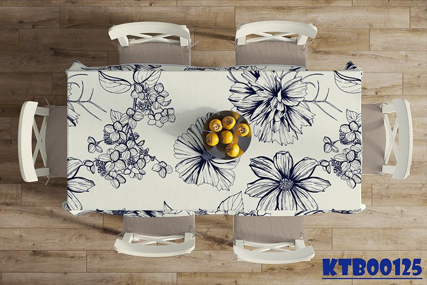 Mẫu khăn trải bàn in hoa đơn sắc