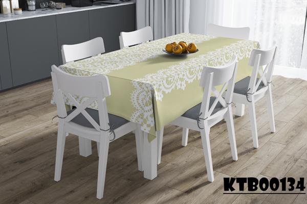 Khăn trải bàn ghế gỗ in màu sắc đơn giản