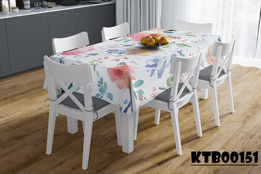 Khăn trải bàn in họa tiết hoa lá