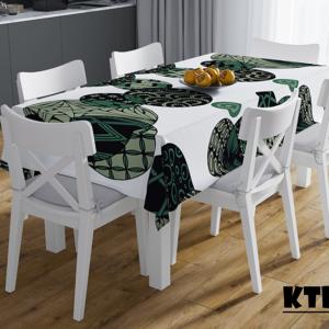 Mẫu khăn trải bàn in họa tiết màu xanh