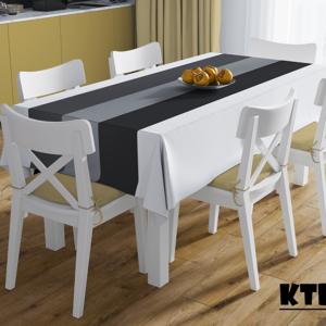 Mẫu khăn trải bàn sọc trắng đen