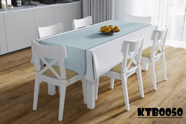 Tấm trải bàn màu xanh trắng