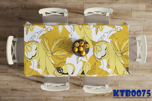 Khăn trải bàn dài in hoa lá