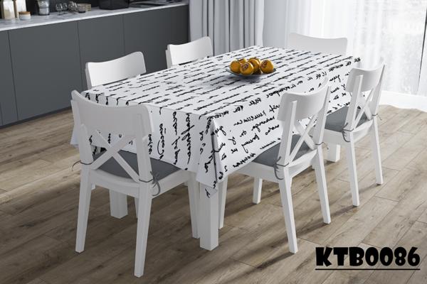 Khăn trải bàn hình chữ nhật in chữ