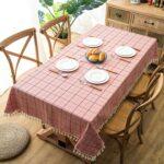 Khăn bàn đẹp in sọc caro kẻ hồng
