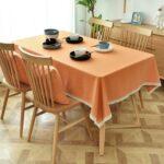 Khăn trải bàn dưới kính vải trơn màu cam