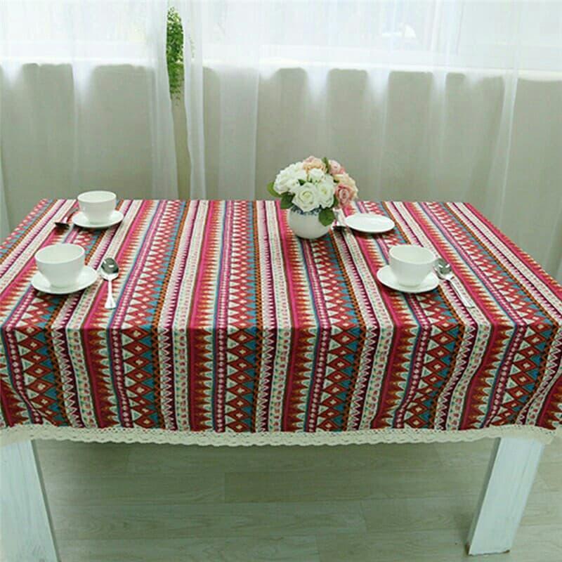 Khăn trải bàn ăn hình chữ nhật -thổ cẩm may viền ren