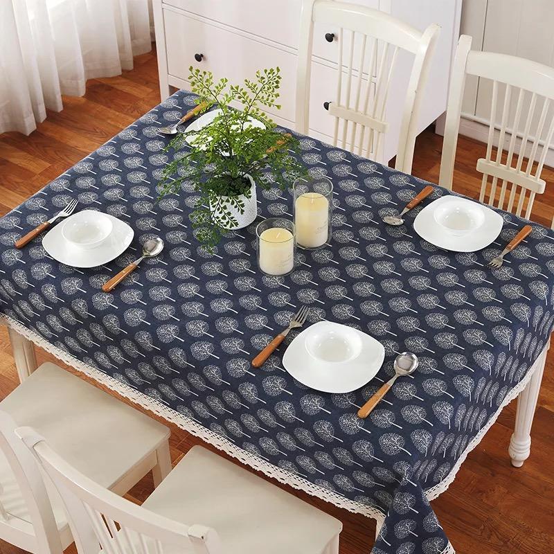 Khăn trải bàn vải bố họa tiết cây
